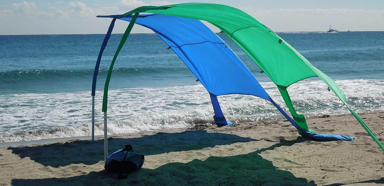 blue and green sun sail cabanas