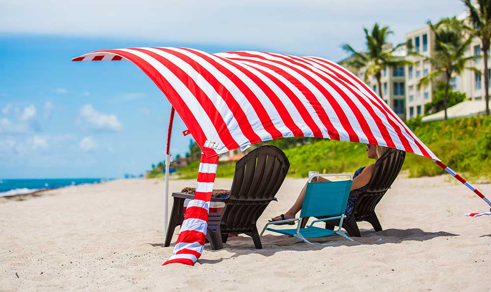 Can you fit 3 chairs under your beach umbrella... we can...Sun Sail Cabana®